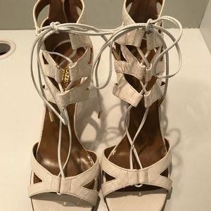 White Snake embossed sandal